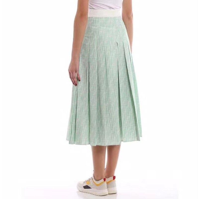 2019 designer new women s skirt pleated light green silk high quality elegant ladies Casual skirt