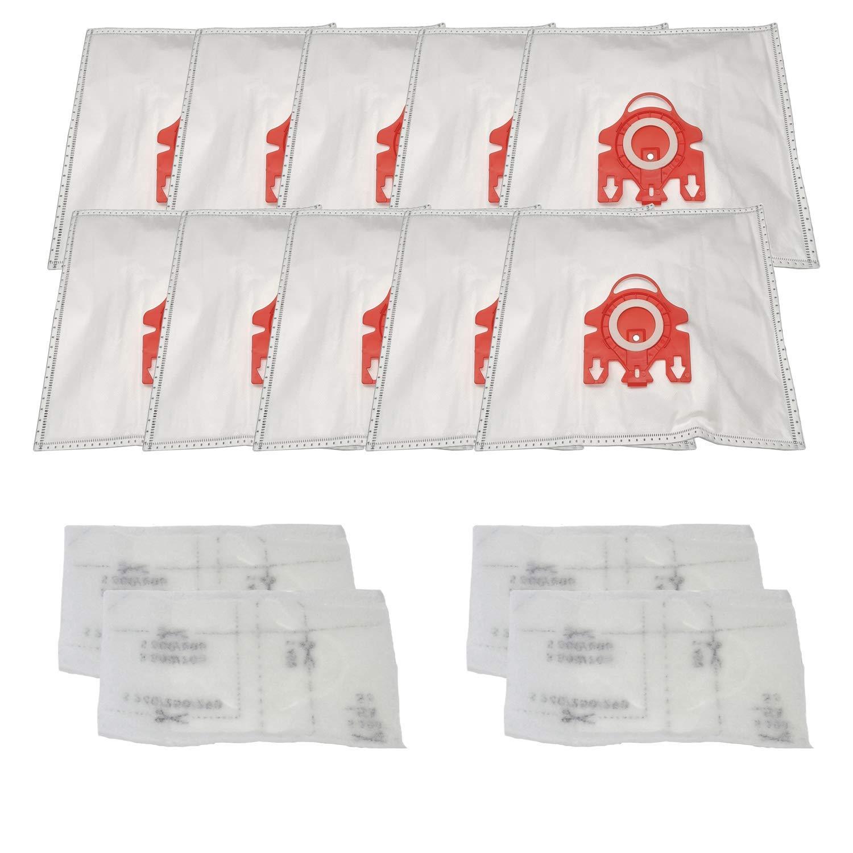 Совместимые вакуумные пакеты/фильтры (10 мешков + 4 фильтра) для вакуумной сумки Miele FJM Airclean. Заменяет часть 7291640. Подходит S241-S256i