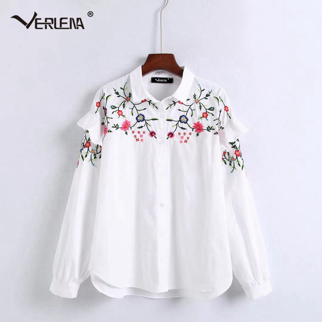 0efd5f37f0c Verlena New White Blouse Novelty Ruffle Long Sleeve Shirt Women Tops Floral  Leaves Embroidery Clean Cotton Blouses 2018 Shirts