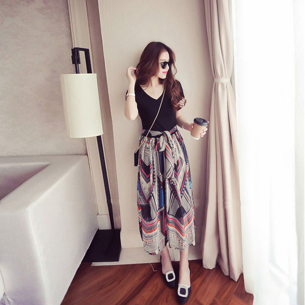 Dress Maxi Dress Women Polyester Print Ankle-length V-neck 3XL Summer Daily Casual Loose Ladies Work Splice Long Dress платье Z4
