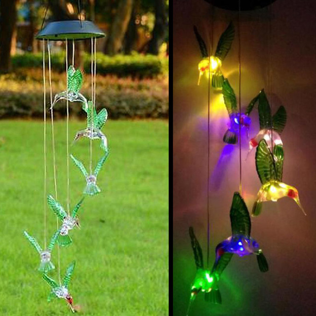 Solar Lamp Color Changing Led Wind Chimes Light Outdoor Home Garden Decor Ed Chime