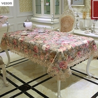 New Arrive Luxury High Quality Cotton Jacquard Floral Lace Tablecloth Elegant Europe Pastoral Table Cloth Towel