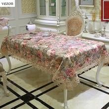 Vezon Neue Ankunft Luxus Hohe Qualität Baumwolle Floral Jacquard Spitze Tischdecke Elegante Europa Pastoralen Tischtuch Handtuch Abdeckungen