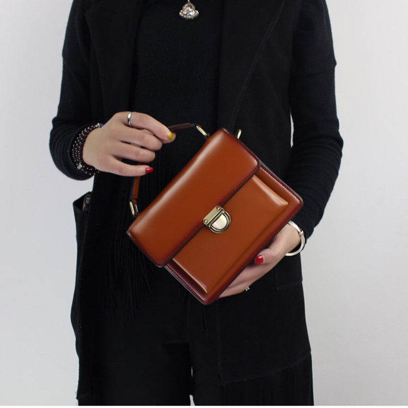 Genuine Leather Fashion Women Handbag Handmade Leather Top Handle Shoulder Sling Bag 2018 Latest Office Lady Hand Small Bags ladies hand bags 2018 fctosse handmade genuine leather women handbag shell shoulder sling bag female messenger top handle bag