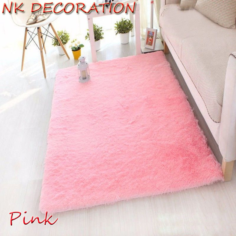 NK DECORATION 120cm160cm Pink Carpet Bedroom Soft Floor Big Carpets Warm Colorful Living Room