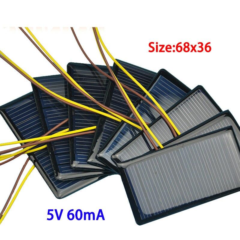 10pcs/pack 5V 60MA solar patch plastic plate polycrystalline solar panels solar DIY rechargeable battery chip