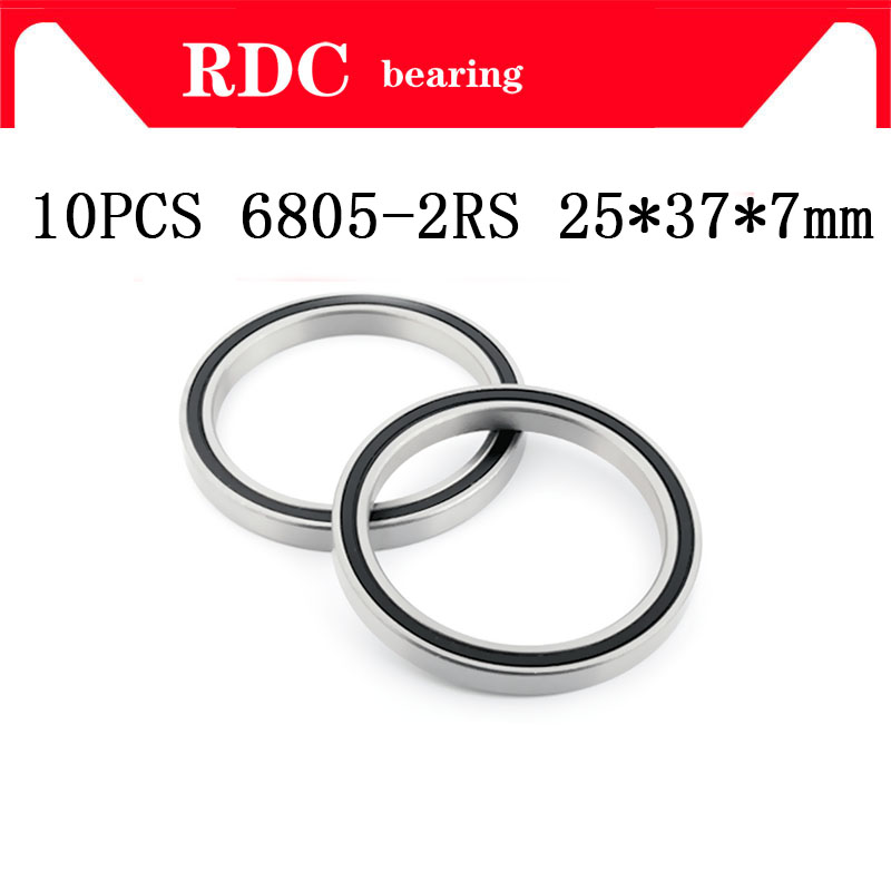 Free Shipping 10PCS ABEC-5 6805-2RS High quality <font><b>6805RS</b></font> 6805 2RS RS <font><b>25x37x7</b></font> mm Thin Wall Rubber seal Deep Groove Ball Bearing image