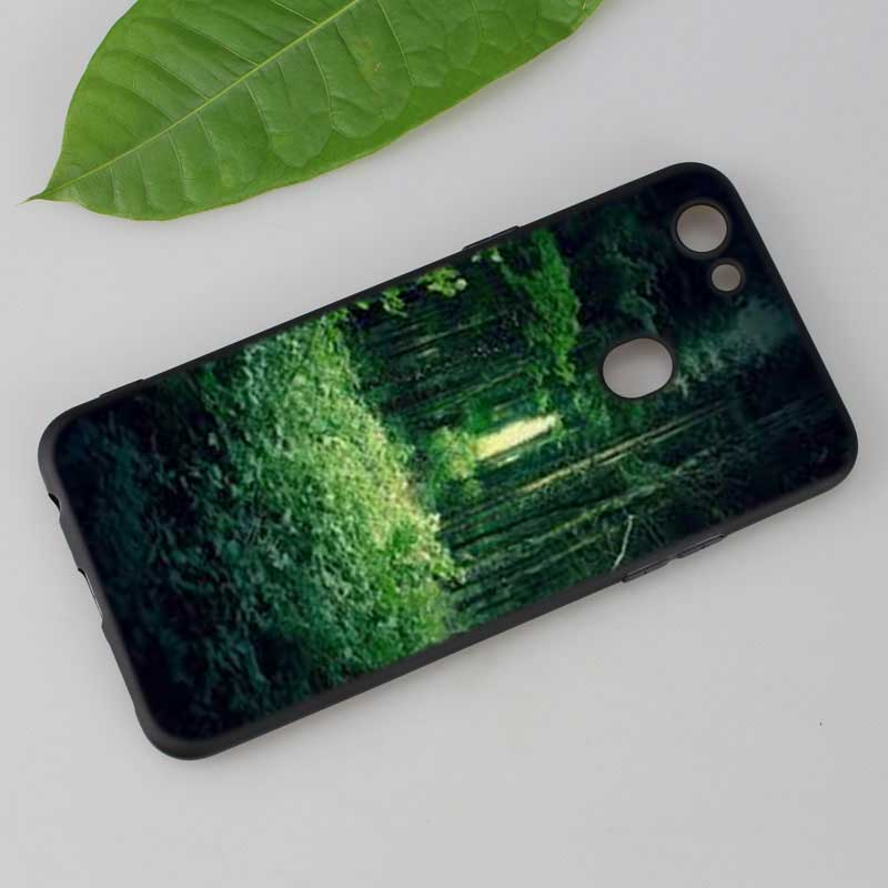 Silicone Phone Bag For OPPO F5 F7 F9 A5 A7 R9S R15 R17 Black Soft Silicone Phone Case Green natural cute plant Style in Fitted Cases from Cellphones Telecommunications