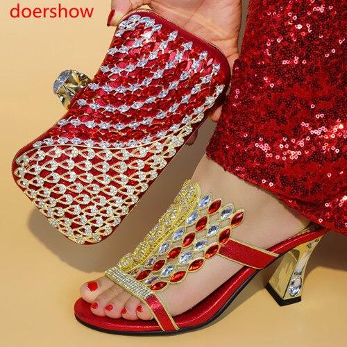Ju1 À pourpre Le Les rouge La Chaussures Femmes Ensemble Assortis Partie Avec bleu Sac Mariage Nigérian Noir or Or Assortir 4 Doershow Royal Couleur Sacs Et Pour gqOHw