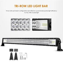 Partol 22″ 34″ 42″ 50″ Straight Curved Tri-Row LED Light Bar Combo Beam Offroad Work Light 4WD 4×4 LED Bar Camper Trailer ATV
