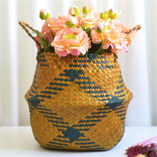 Seagrass Wicker Basket Flower Pot Folding Basket Dirty Basket Storage Rattan Seagrass Belly Garden Flower Pot Planter #O(China)