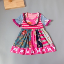 Autumn All kinds of flowers pink Girls dress with buttons Hot Sale New style Dress for present