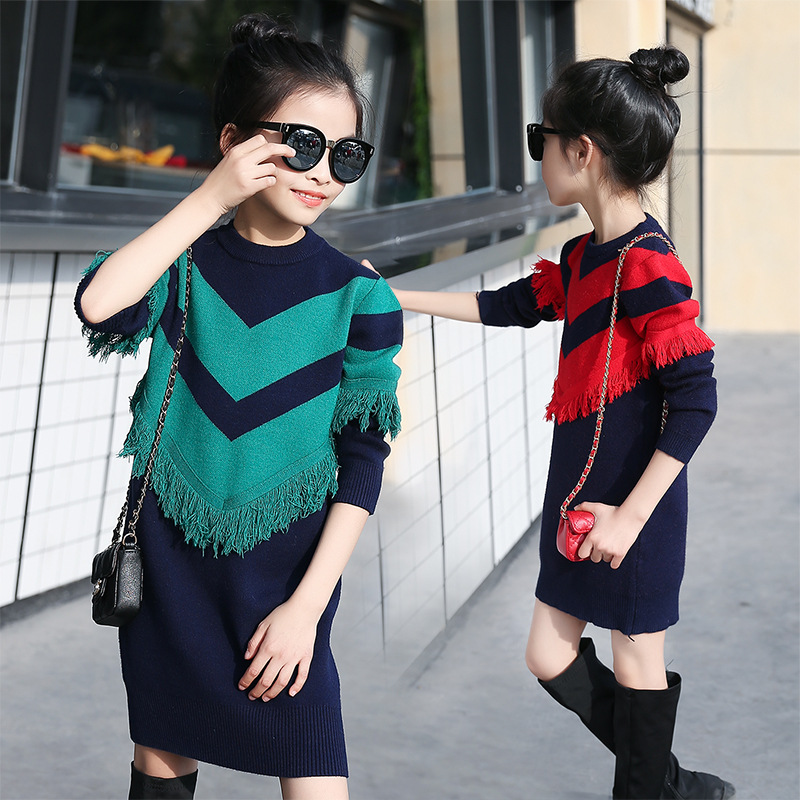 ФОТО 2017 new preppy style tassels knitting sweater girls dress long sleeve children clothing green red girls clothes 7 8 10 12 year