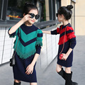2017 new preppy style tassels knitting sweater girls dress long sleeve children clothing green red girls clothes 7 8 10 12 year