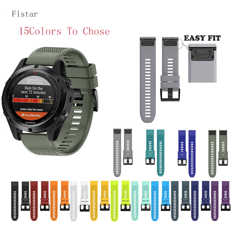 Fistar 22MM 26MM Silicone Quick Release Watch Band Wrist Strap For Garmin Fenix 5x 5 5s Fenix 3 HR 935 S60 MK1 Garmin Watchband 22mm watch band accessories stainless steel quick fit release watch bands straps for garmin forerunner 935 fenix 5