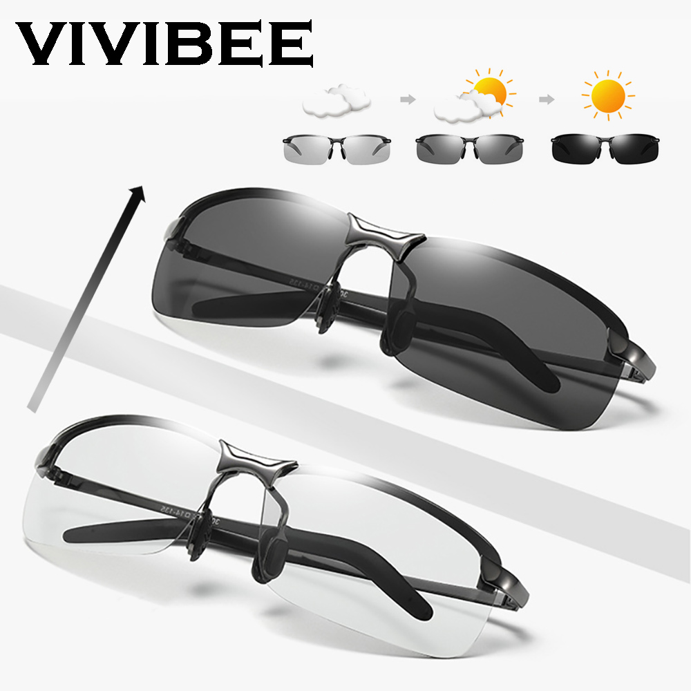 VIVIBEE Rimless Color Changing Sun Glasses Driving Men Driver Square Metal Women Summer Photochromic Polarized Sunglasses in Men 39 s Sunglasses from Apparel Accessories