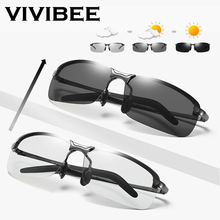 VIVIBEE Rimless Color Changing Sun Glasses Driving Men Driver Square Metal Women Summer Photochromic Polarized Sunglasses