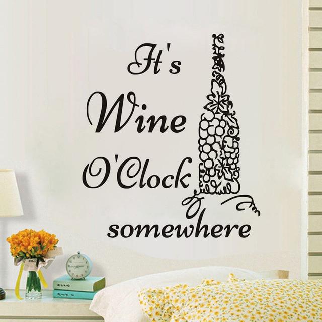 Itu0027S Wine Ou0027Clock Somewhere Grape Wine Bottle Wall Sticker Vinyl Art Murals Decals Self  sc 1 st  AliExpress.com & Itu0027S Wine Ou0027Clock Somewhere Grape Wine Bottle Wall Sticker Vinyl Art ...