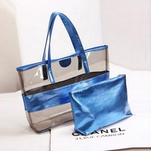 Women Transparent PVC Handbag Jelly Bag Summer Waterproof Crystal Casual Tote Female Beach Composite Shoulder 2 Pcs/Set