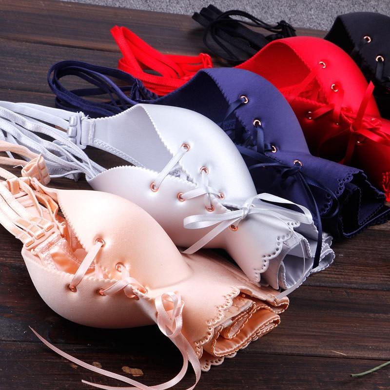 Push Up Lingerie Bras Women Sexy Women's Intimates Bandage Plus Size Bra 3/4 Cup Wire Free Underwear Lenceria Mujer Biustonosz