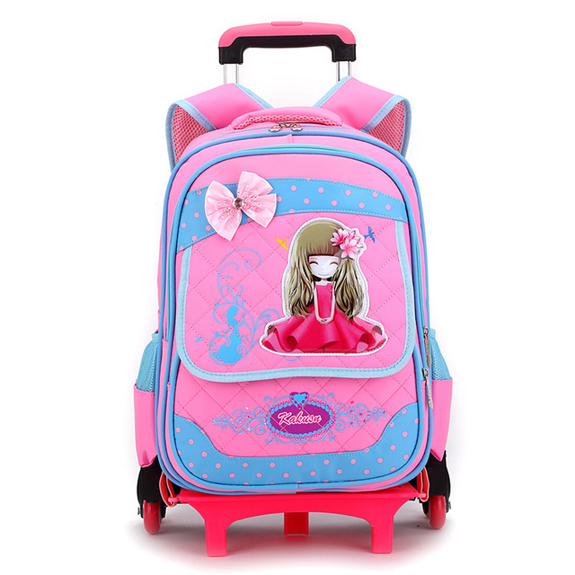 Latest Removable Children School Bags With 6 Wheels Stairs Kids boys girls Trolley Schoolbag Luggage Book Bags Wheeled Backpack School Bags