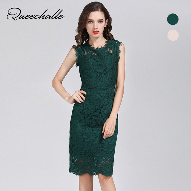 50f2578435 Queechalle Green Apricot color sleeveless slim elegant lace dress Summer  Women s hollow out bodycon dress party evening vestidos