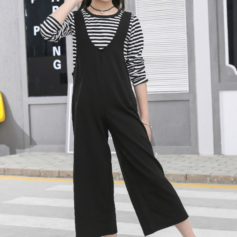 Kids Girls Clothes 2018 Autumn Spring Children Clothing Set Teenager Girl Casual Striped Tops+black Strap Wide Leg Pants 2pcs buttoned wide waistband palazzo pants with strap