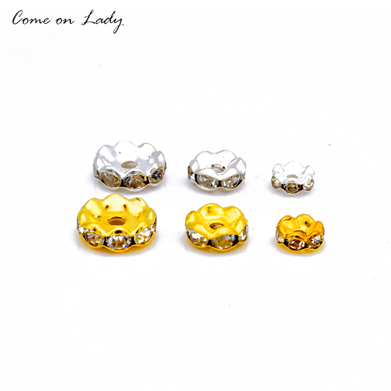 10pcs lot 6mm 8mm 10mm Rhinestone Clear Crystal Spacer Beads for Jewelry Making DIY Bracelet JF005