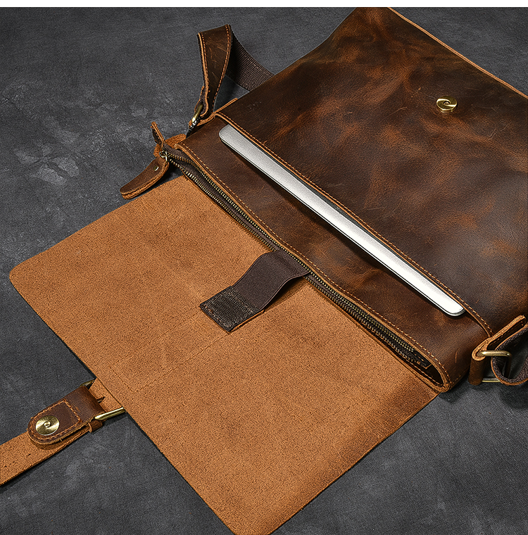 Luxury Leather Courier Bag leather cap