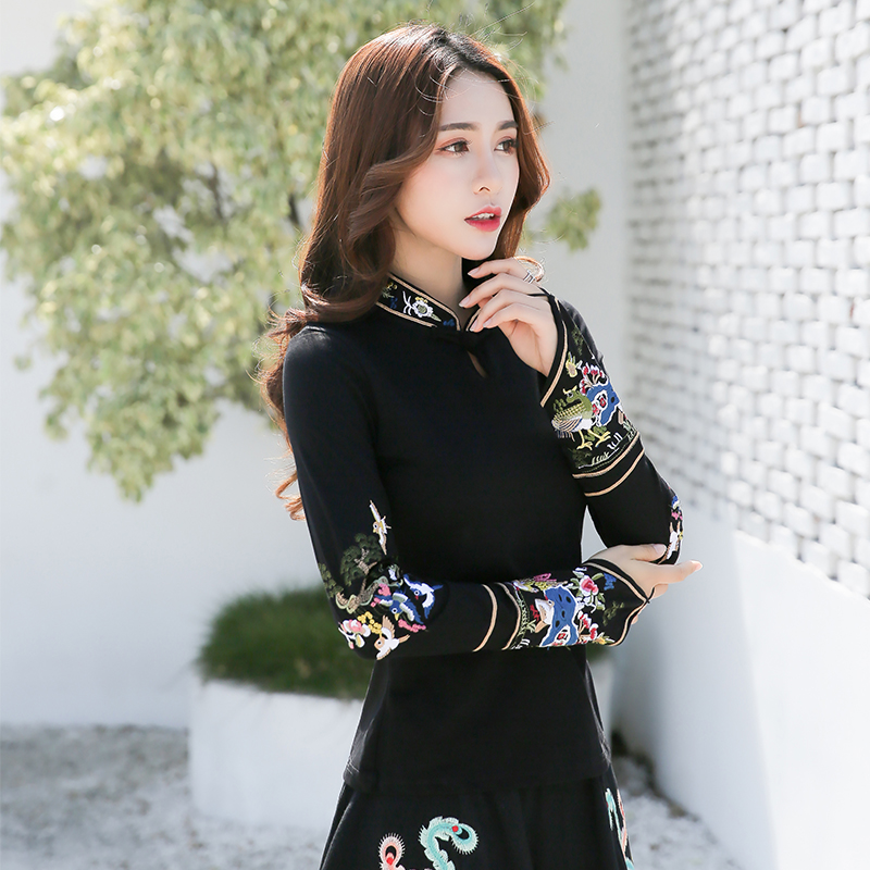 KYQIAO Traditional Chinese Shirt Women Ethnic Mandarin Collar Long Sleeve Black Embroidery Blouse Blusa Tops Cosplay Costumes