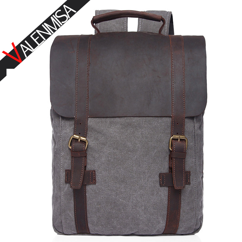 Vintage Large Laptop Backpack Crazy Horse Leather + Canvas Backpacks For Teenage Girls Boy Men Women School Travel Bags 2017 tourit 2016 new canvas printing backpack women school bags for teenage girls cute bookbags vintage laptop backpacks female