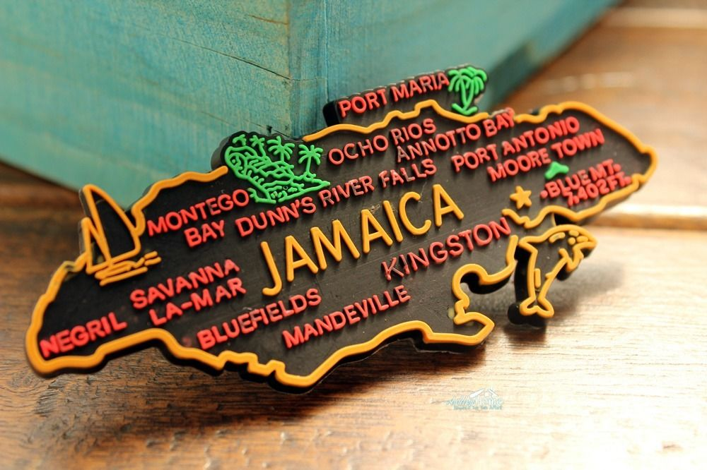 Jamaica Map Tourist Travel Souvenir Rubber Fridge Magnet Worldwide ...