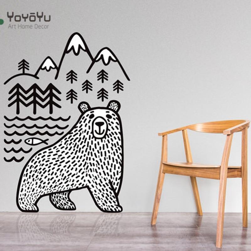 YOYOYU Bear Mountains Vinyl Wall Sticker Kids Room Animal Removeable Decal Nursery Bedroom Decoration Art Poster ZX024
