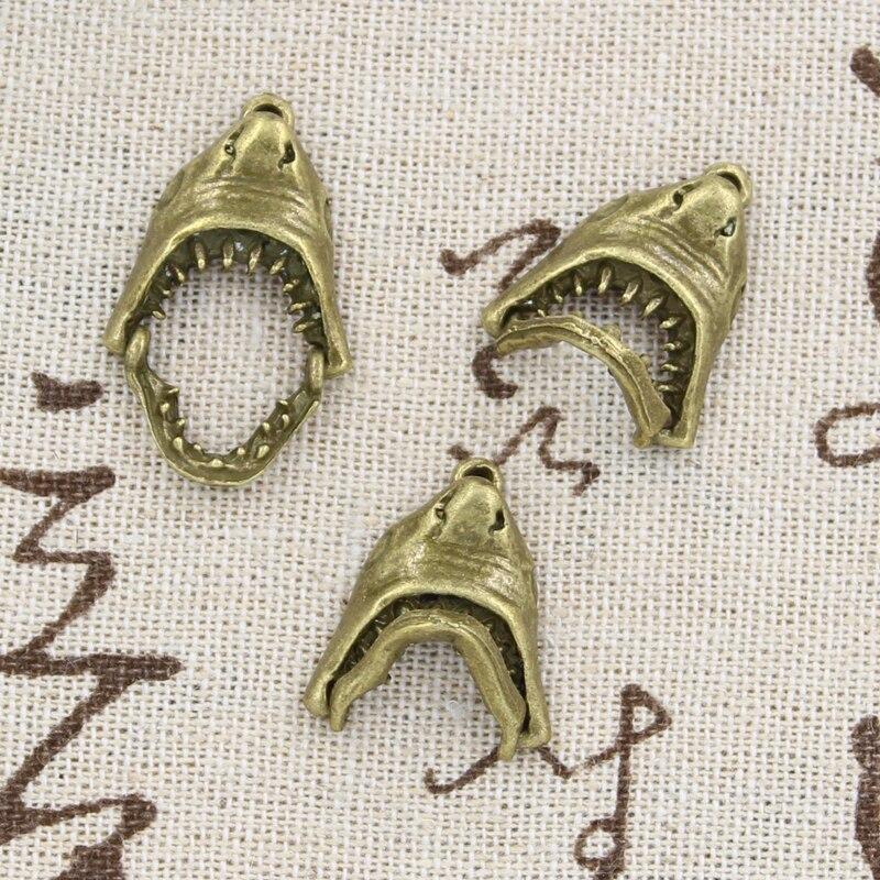 15PCS Tibetan Silver Shark Teeth Tooth Charms Pendant DIY Jewellery Making
