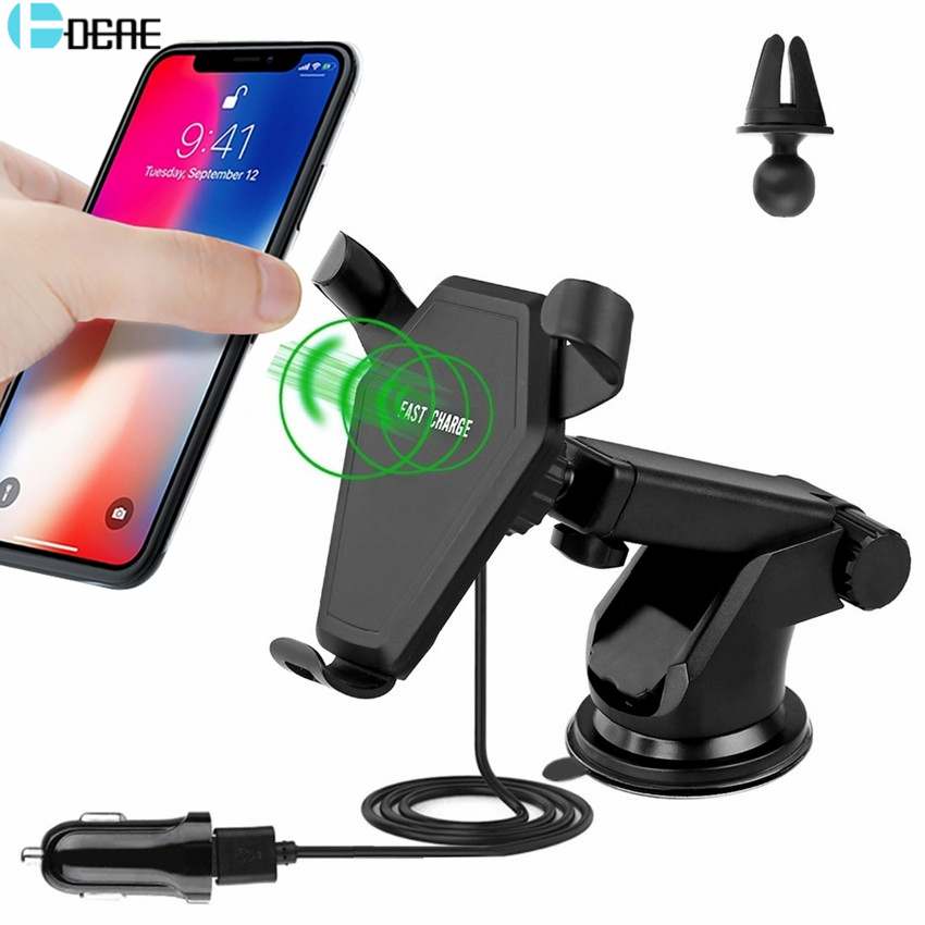 DCAE Car Holder Qi Wireless Charger Car Vent Mount Holder Stand for iPhone X 8 Plus Samsung Galaxy S9 S8 S6 wireless car charger
