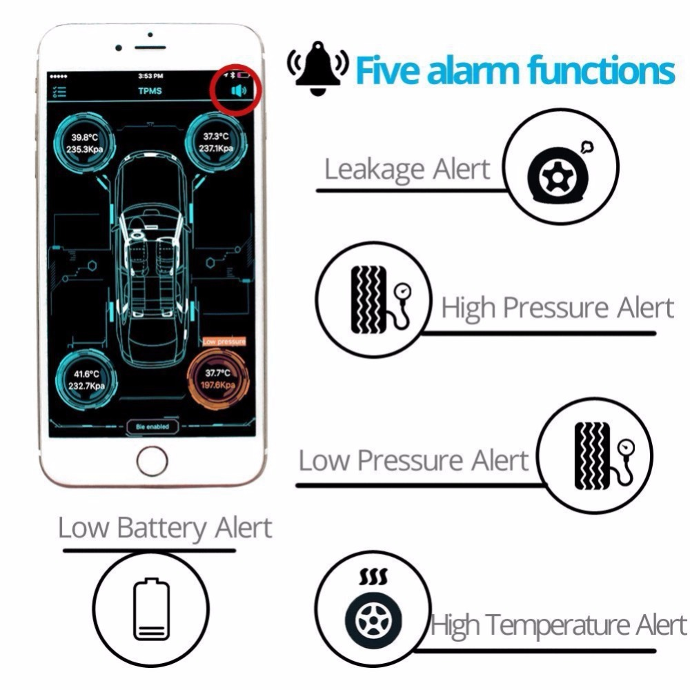 Tire Pressure Test Set 4.0 Wireless Bluetooth BLE TPMS Accurate System Measurement Monitor