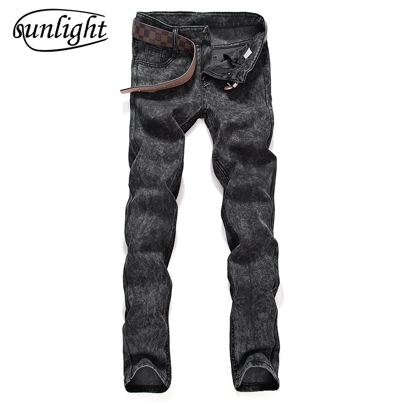 sunlight Designer Styles Brand Fashion Elastic Casual Straight Skinny Slim Fitted   Jeans   Pants Tapered High Waist   Jean   for Men