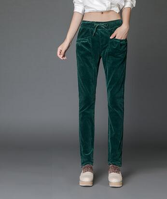 9c8805ca7aaa Harem pants for women plus size elastic waist corduroy 8 colour green black  white blue casual pants high waist trousers dyf0701-in Pants   Capris from  ...