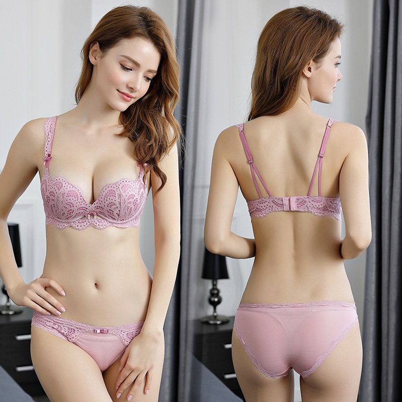 OranriTing New Sexy Lingerie Set Push Up Bra Briefs Fashion Shell Shape Lace Bra And Panties Women Underwear ABC Cup Intimates