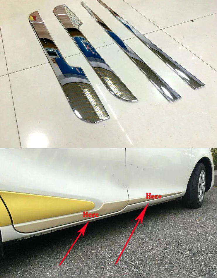 TTCR-II Car Accessories For TOYOTA SIENTA 2016 ABS Chrome Door Pretector Trim Strip Mouldings Protected Bumper Guard Stickers ttcr ii car accessories for audi a4 a5 a6 a7 a8 q5 s4 s6 s7 sq5 at mt accelerator brake clutch pedal pad pedales stickers