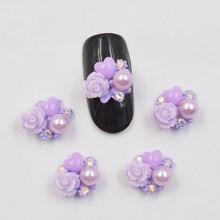 10psc New Purple flowers glitter rhinestones 3D Nail Art Decorations,Alloy Charms,Nails Rhinestones  Supplies #737