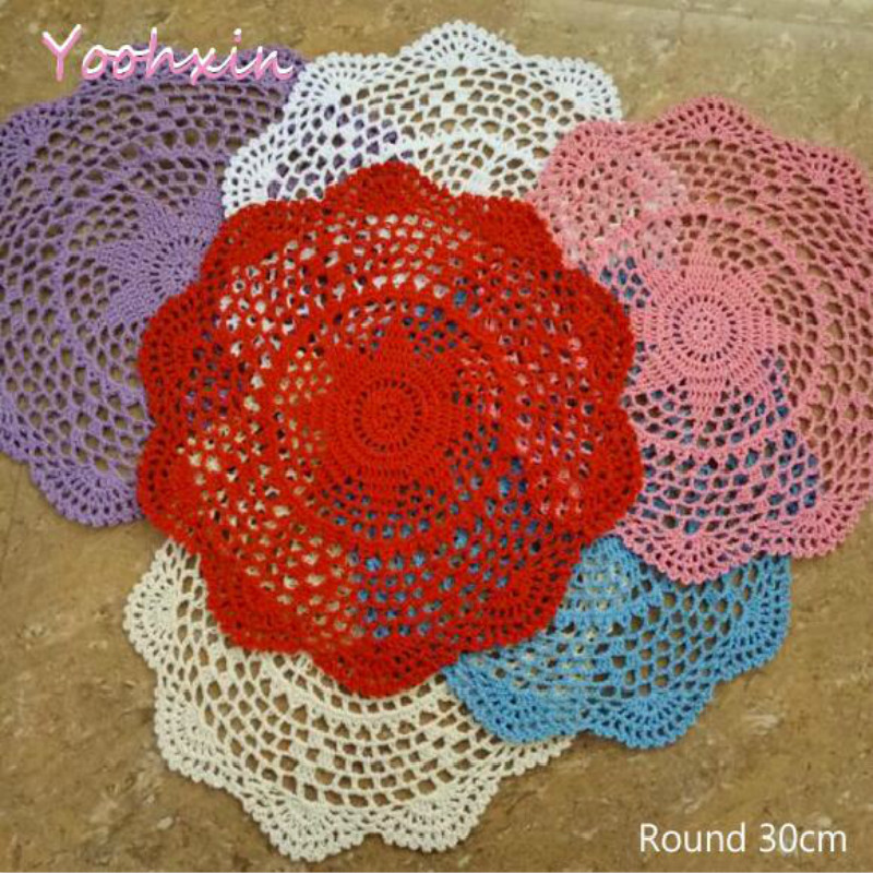 30CM Round New Design Handmade Cotton Crochet tablecloth Lace Mugs tea Table Cover dining Christmas wedding catering decoration
