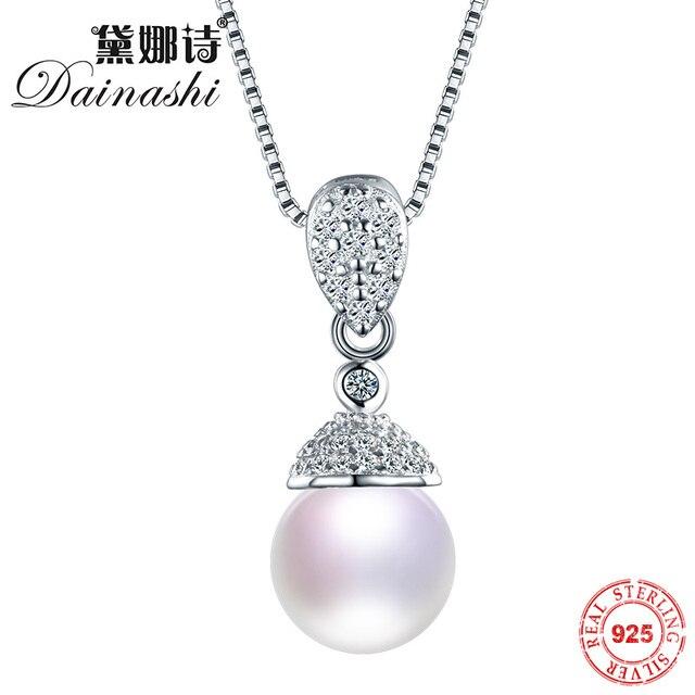 Dainashi mujeres compromiso de la boda 100% de agua dulce natural perfecto ronda collar colgante de joyería de plata sólido puro 925