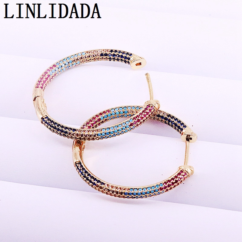 3Pairs Newest Designs Colorful CZ Oval Hoop Earrings Rainbow Cubic Zirconia For Women Earrings