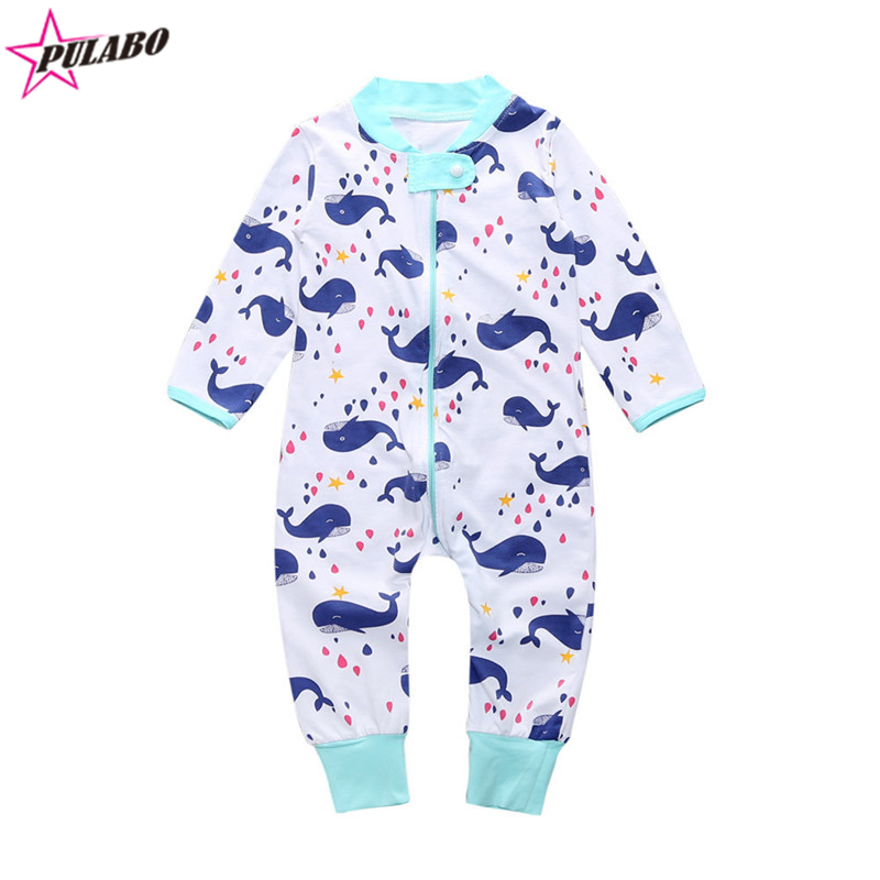 2018 spring autumn Infant Baby Boy Girl Kids whale cotton Clothing Long Sleeve Romper Outfit baby cartoon Jumpsuits