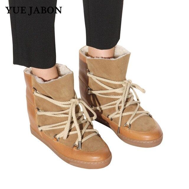 Ascenseur Sneakers Yue Pour picture Jabon picture Cuir Chaussures Picture Bottines Compensées Décontractées 2 À Femmes Caché En Réel 3 1 D'hiver Bottes Lacets aWP01qawr