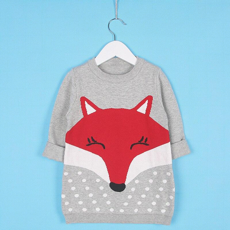 Фото 2017 Spring Girls Dress Children Wear 100% Cotton Knit Sweater One-piece Dress Lovely Fox Kids Girl Dresses Comfortable 1-5Yrs