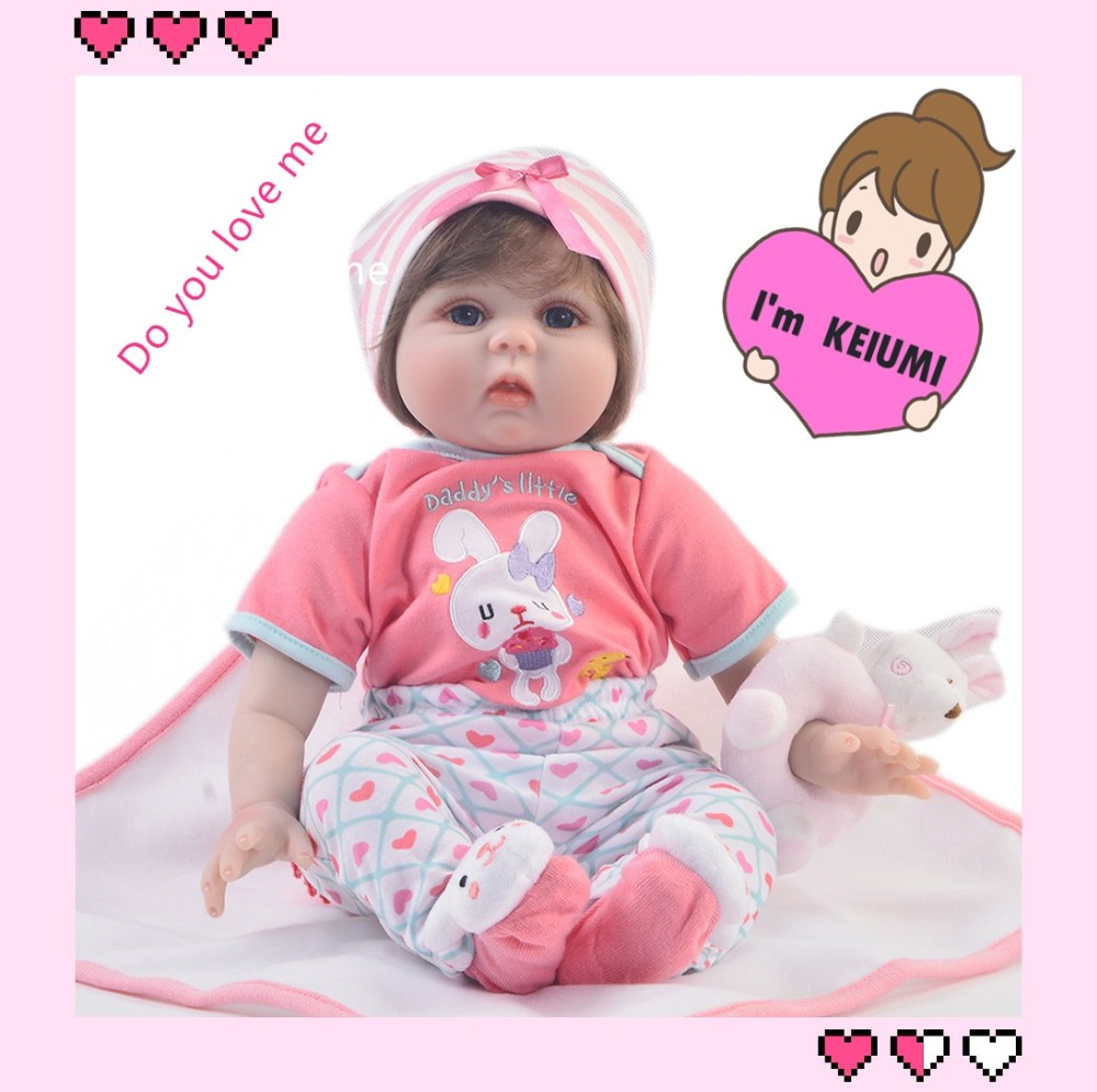 KEIUMI 22 Inch Realistic Baby Alive Doll Soft Silicone 55 cm Lovely Princess Girl Reborn Bonecas Doll Kid Children Birthday Gift 22 58cm rebirth doll soft silicone eva matryoshka doll princess reborn domino dress blond kid christmas gift