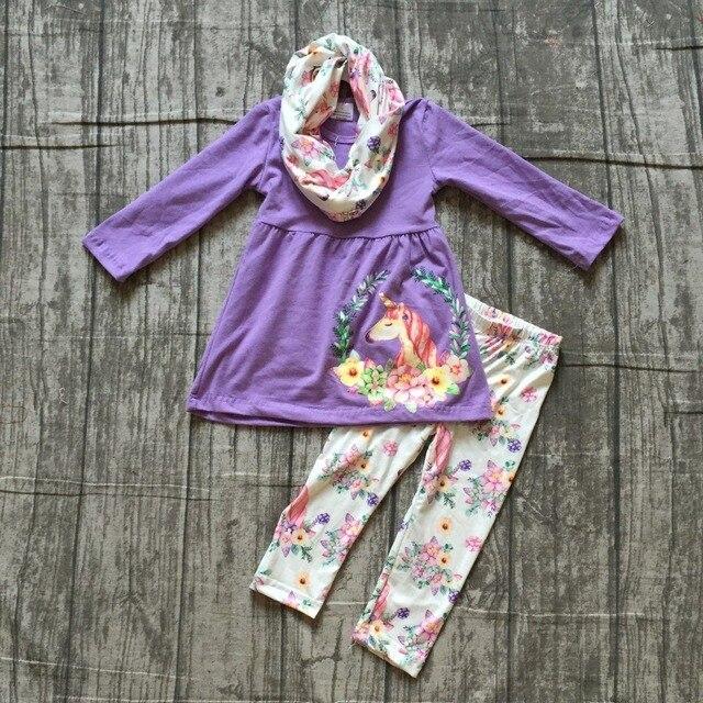 Nieuwe Herfst/winter 3 stuks sjaal baby meisjes kinderen outfits lavendel eenhoorn bloemenprint broek katoen boutique kleding boutique