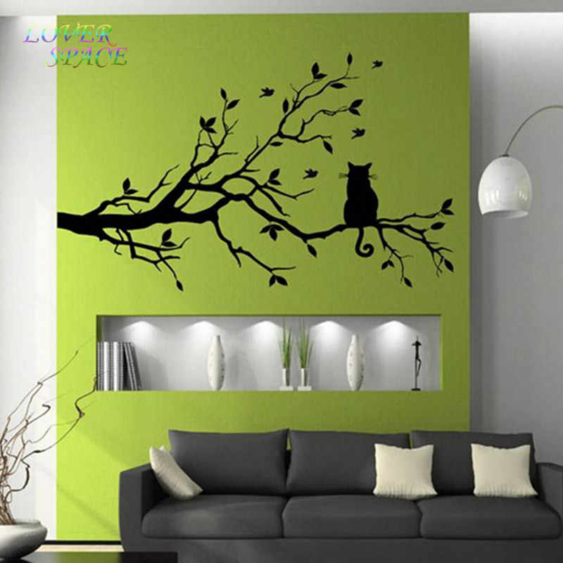 Adesivi Murali Low Cost.Cat On Tree Branch Birds Wall Sticker Tree Vinyl Wall Decal Adesivi